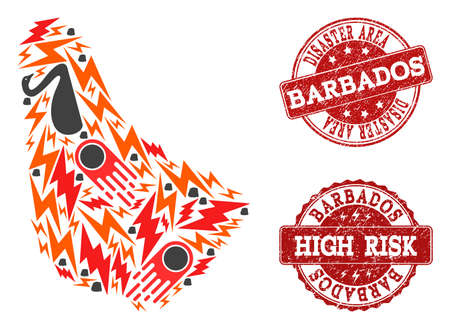 Disaster combination of mosaic map of Barbados and grunge seals. Vector red seals with corroded rubber texture for high risk regions. Flat design for disaster templates.