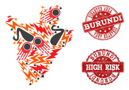 Disaster combination of mosaic map of Burundi and rubber stamps. Vector red imprints with unclean rubber texture for high risk regions. Flat design for disaster purposes.