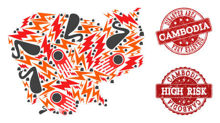 Disaster combination of mosaic map of Cambodia and textured seals. Vector red seals with unclean rubber texture for high risk regions. Flat design for accident illustrations. Ilustração