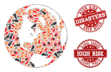 Disaster composition of mosaic map of global world and grunge seals. Vector red seals with grunge rubber texture for high risk regions. Flat design for problem illustrations.