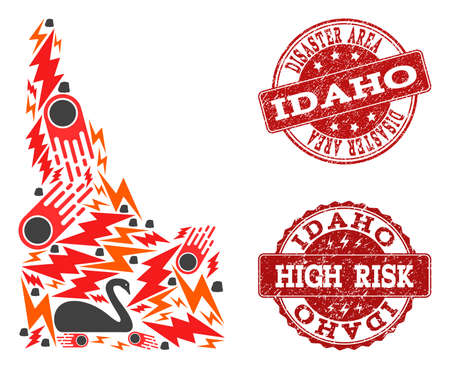 Disaster composition of mosaic map of Idaho State and unclean seal stamps. Vector red watermarks with unclean rubber texture for high risk regions. Flat design for disaster templates.  イラスト・ベクター素材
