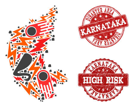 Disaster combination of mosaic map of Karnataka State and unclean seals. Vector red seals with corroded rubber texture for high risk regions. Flat design for black swan templates.