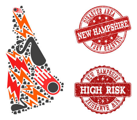 Disaster combination of mosaic map of New Hampshire State and rubber seal stamps. Vector red watermarks with unclean rubber texture for high risk regions. Flat design for black swan illustrations.