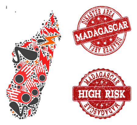 Disaster composition of mosaic map of Madagascar Island and rubber stamps. Vector red watermarks with grunge rubber texture for high risk regions. Flat design for disaster templates.