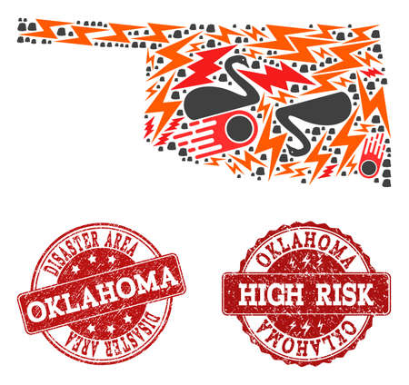 Disaster composition of mosaic map of Oklahoma State and corroded seals. Vector red seals with corroded rubber texture for high risk regions. Flat design for black swan illustrations.