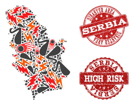 Disaster combination of mosaic map of Serbia and corroded seals. Vector red seals with scratched rubber texture for high risk regions. Flat design for disaster purposes.