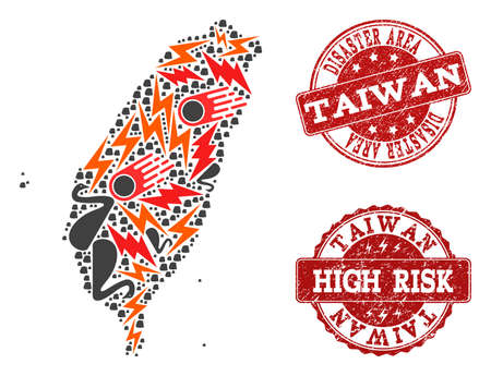 Disaster combination of mosaic map of Taiwan and rubber stamps. Vector red watermarks with corroded rubber texture for high risk regions. Flat design for black swan templates.