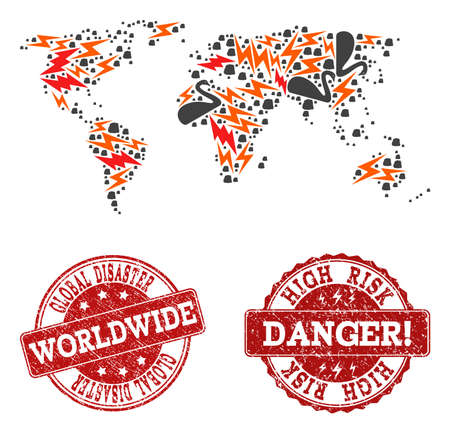 Disaster composition of mosaic map of world and scratched seals. Vector red seals with scratched rubber texture for high risk regions. Flat design for apocalypse posters. Stock Illustratie