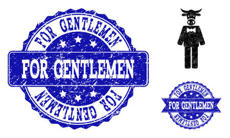 Grunge bull gentleman icon and unclean seals. Vector watermarks with unclean rubber texture for bull gentleman illustrations. Reklamní fotografie - 128560279