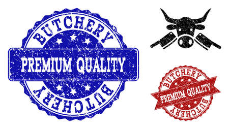 Grunge butchery icon and dirty seals. Vector seals with distress rubber texture for butchery illustrations.