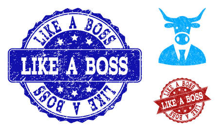 Grunge cow boss icon and rubber stamps. Vector imprints with grunge rubber texture for cow boss illustrations.