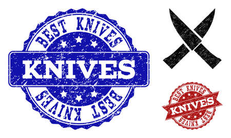 Grunge crossing knives icon and rubber seals. Vector imprints with corroded rubber texture for crossing knives illustrations.