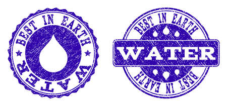 Grunge Best in Earth Water stamp seal watermarks. Best in Earth Water text inside blue unclean rubber seals with grunge texture. Rectangle and circle figures are used. 向量圖像