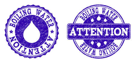 Grunge Boiling Water Attention stamp seal imprints. Boiling Water Attention text inside blue corroded rubber seals with grunge texture. Rectangle and circle figures are used. 免版税图像 - 111130538