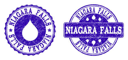 Grunge Niagara Falls stamp seal watermarks. Niagara Falls text inside blue unclean rubber seals with grunge texture. Rectangle and circle figures are used. Designed for water saving illustrations.