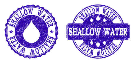 Grunge Shallow Water stamp seal imprints. Shallow Water text inside blue scratched rubber seals with grunge texture. Rectangle and circle figures are used. Designed for water saving illustrations. Ilustração
