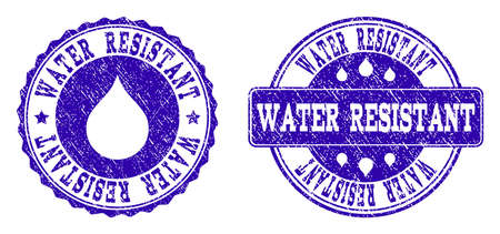 Grunge Water Resistant stamp seal imprints. Water Resistant text inside blue unclean rubber seals with grunge texture. Rectangle and circle figures are used. Designed for water saving illustrations.