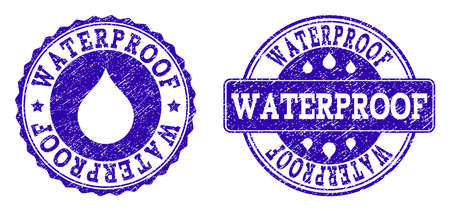 Grunge Waterproof stamp seal imprints. Waterproof text inside blue distress rubber seals with grunge texture. Rectangle and circle figures are used. Designed for water saving illustrations. Ilustração