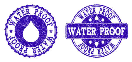 Grunge Water Proof stamp seal watermarks. Water Proof text inside blue corroded rubber seals with grunge texture. Rectangle and circle figures are used. Designed for water saving illustrations. Ilustração
