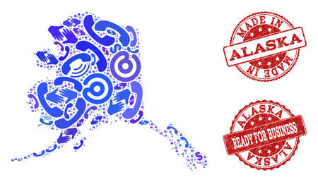 Business Contacts combination of blue mosaic map of Alaska State and rubber seals. Vector red watermarks with corroded rubber texture have MADE IN and READY FOR BUSINESS texts.