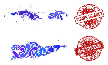 Business Contacts combination of blue mosaic map of American Virgin Islands and grunge seal stamps. Vector red seals with grunge rubber texture have MADE IN and READY FOR BUSINESS texts. Vektoros illusztráció
