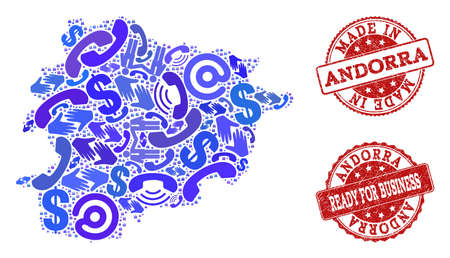 Business Contacts collage of blue mosaic map of Andorra and corroded stamps. Vector red watermarks with corroded rubber texture have MADE IN and READY FOR BUSINESS texts.