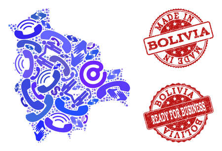 Business Contacts composition of blue mosaic map of Bolivia and scratched stamps. Vector red seals with scratched rubber texture have MADE IN and READY FOR BUSINESS texts.