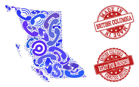 Business Contacts combination of blue mosaic map of British Columbia Province and scratched seal stamps. Vector red imprints with scratched rubber texture have MADE IN and READY FOR BUSINESS texts. 일러스트