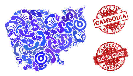 Business Contacts combination of blue mosaic map of Cambodia and rubber seals. Vector red watermarks with unclean rubber texture have MADE IN and READY FOR BUSINESS texts.