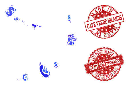 Business Contacts combination of blue mosaic map of Cape Verde Islands and unclean seal stamps. Vector red imprints with unclean rubber texture have MADE IN and READY FOR BUSINESS texts.