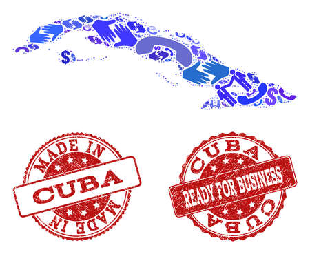 Business Contacts combination of blue mosaic map of Cuba Island and rubber seals. Vector red imprints with scratched rubber texture have MADE IN and READY FOR BUSINESS texts.
