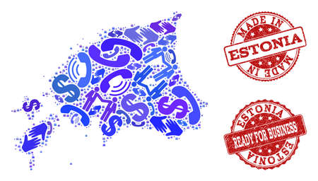 Business Contacts composition of blue mosaic map of Estonia and corroded stamps. Vector red watermarks with corroded rubber texture have MADE IN and READY FOR BUSINESS texts.
