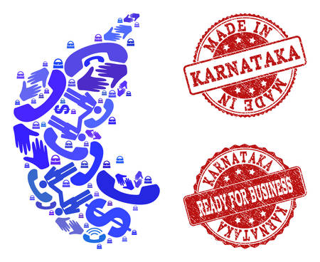 Business Contacts collage of blue mosaic map of Karnataka State and grunge seals. Vector red seals with grunge rubber texture have MADE IN and READY FOR BUSINESS texts. Stock Vector - 128560422
