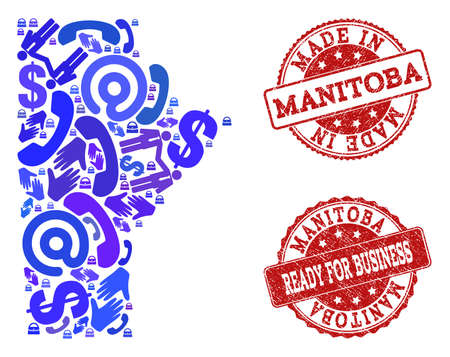 Business Contacts collage of blue mosaic map of Manitoba Province and unclean seals. Vector red seals with distress rubber texture have MADE IN and READY FOR BUSINESS texts. Illustration