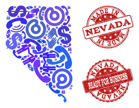 Business Contacts composition of blue mosaic map of Nevada State and rubber seals. Vector red seals with distress rubber texture have MADE IN and READY FOR BUSINESS texts.