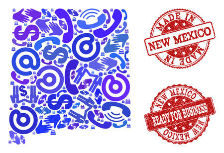 Business Contacts composition of blue mosaic map of New Mexico State and corroded seal stamps. Vector red seals with corroded rubber texture have MADE IN and READY FOR BUSINESS texts.  イラスト・ベクター素材