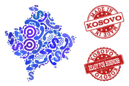 Business Contacts composition of blue mosaic map of Kosovo and corroded seal stamps. Vector red imprints with corroded rubber texture have MADE IN and READY FOR BUSINESS texts.