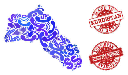 Business Contacts composition of blue mosaic map of Kurdistan and grunge seals. Vector red watermarks with grunge rubber texture have MADE IN and READY FOR BUSINESS texts.