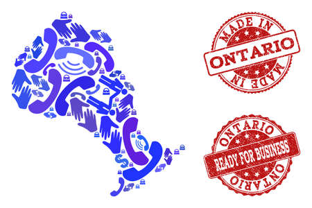 Business Contacts combination of blue mosaic map of Ontario Province and unclean seal stamps. Vector red seals with unclean rubber texture have MADE IN and READY FOR BUSINESS texts.