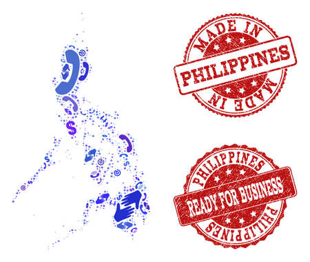 Business Contacts composition of blue mosaic map of Philippines and rubber seal stamps. Vector red seals with grunge rubber texture have MADE IN and READY FOR BUSINESS texts.