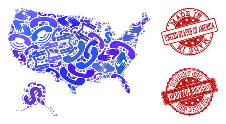 Business Contacts collage of blue mosaic map of USA and Alaska and scratched seals. Vector red seals with grunge rubber texture have MADE IN and READY FOR BUSINESS texts. Иллюстрация