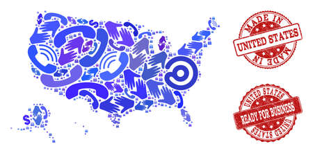 Business Contacts combination of blue mosaic map of USA territories and rubber seals. Vector red imprints with grunge rubber texture have MADE IN and READY FOR BUSINESS texts.