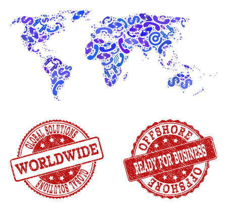 Business Contacts composition of blue mosaic map of world and rubber seal stamps. Vector red watermarks with distress rubber texture have MADE IN and READY FOR BUSINESS texts. Stock Illustratie