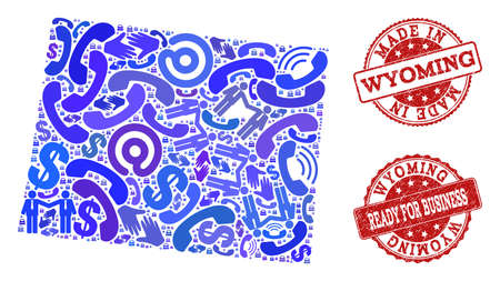Business Contacts composition of blue mosaic map of Wyoming State and scratched seal stamps. Vector red seals with scratched rubber texture have MADE IN and READY FOR BUSINESS texts.