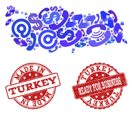 Business Contacts collage of blue mosaic map of Turkey and rubber seal stamps. Vector red imprints with scratched rubber texture have MADE IN and READY FOR BUSINESS texts.