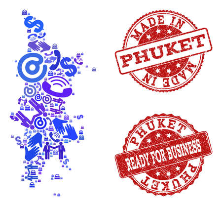 Business Contacts combination of blue mosaic map of Phuket and corroded seals. Vector red seals with corroded rubber texture have MADE IN and READY FOR BUSINESS texts. Flat design for trade posters.