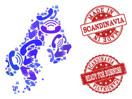 Business Contacts collage of blue mosaic map of Scandinavia and grunge seals. Vector red seals with corroded rubber texture have MADE IN and READY FOR BUSINESS texts.