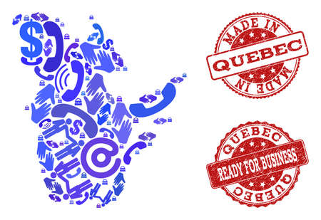 Business Contacts combination of blue mosaic map of Quebec Province and rubber stamps. Vector red watermarks with scratched rubber texture have MADE IN and READY FOR BUSINESS texts. 写真素材