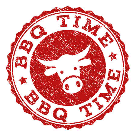 BBQ Time stamp seal with grunged texture. Designed with bull head symbol. Red vector rubber stamp with BBQ TIME text and rosette round shape. Designed for steak houses, butchery shops, meat markets.