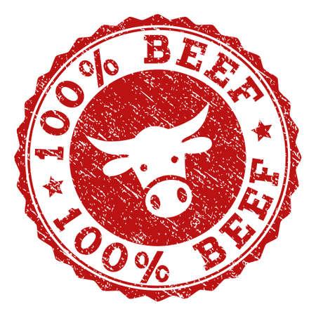 100 % Rindfleisch-Stempelsiegel mit Grunge-Textur. Entworfen mit Stierkopfsymbol. Roter Vektor-Stempel mit 100 % BEEF-Text und runder Rosettenform. Entwickelt für Steakhäuser, Metzgereien, Fleischmärkte. Vektorgrafik